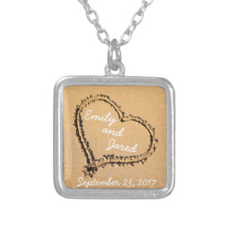 Heart in Sand Custom Couple Wedding Date Necklace