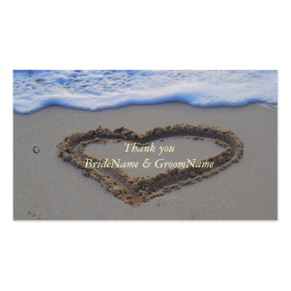 Heart in Sand Thank you Gift Tag Pack Of Standard Business Cards