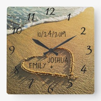 Heart in the Sand Beach Shore Tropical Ocean View Square Wall Clock