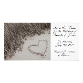 Heart in the Sand Save the Date Photo Card