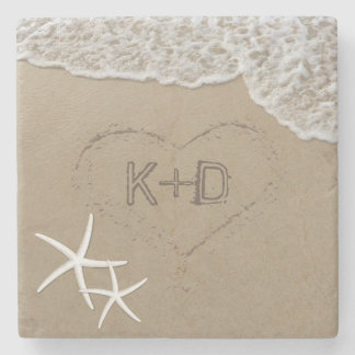 Heart in the Sand Starfish Summer Beach Wedding Stone Coaster