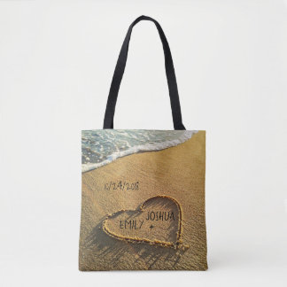 Heart in the Sand Tropical Beach Tote Bag