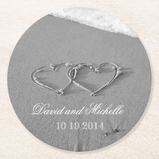 Heart in the sand wedding party paper coasters