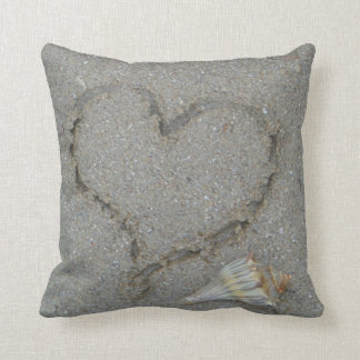 heart in the sand with shell throw pillow