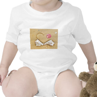 heart in the sand with shells baby bodysuit