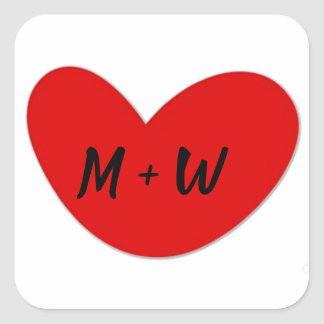 Heart Initials Stickers