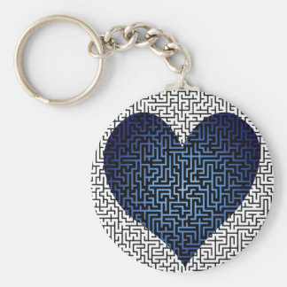 Heart is a Maze Blue Keychain