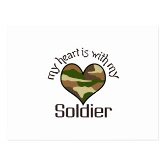 HEART IS WITH MY SOLDIER POSTCARD