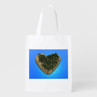 Heart island - 3D render Reusable Grocery Bag