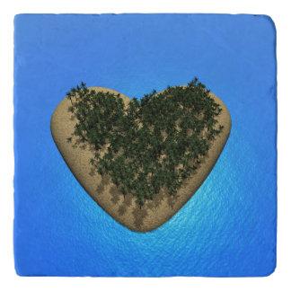 Heart island - 3D render Trivet