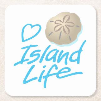 Heart Island Life coasters with a Sand Dollar