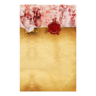 HEART & IT'S BLOOD VESSELS RED WAX SEAL PARCHMENT STATIONERY