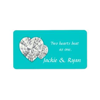 Heart Jewelry Wedding Label Blue