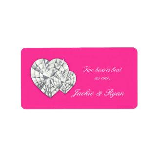 Heart Jewelry Wedding Label Pink