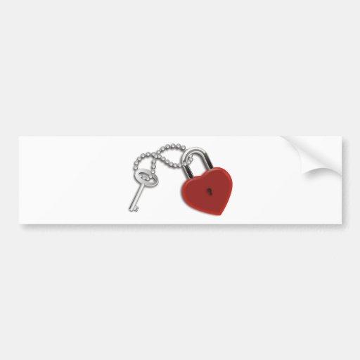 Heart Key And Lock Bumper Sticker
