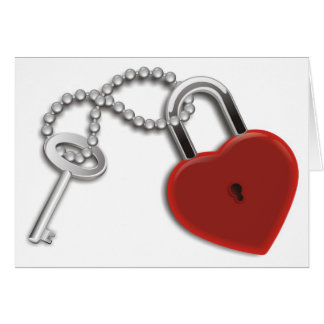 Heart Key And Lock Greeting Cards