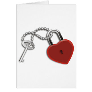 Heart Key And Lock Greeting Card