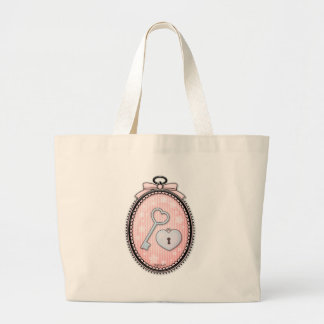 Heart Key and Lock in a Vintage Frame Jumbo Tote Bag