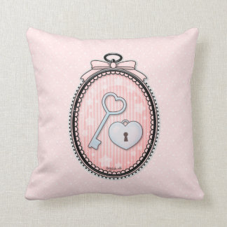 Heart Key and Lock in a Vintage Frame Throw Pillows