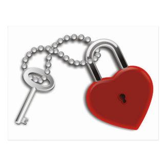 Heart Key And Lock Postcard