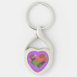 HEART KEY CHAIN/COLORFUL PIECES OF BURLAP IN HEART KEYCHAIN