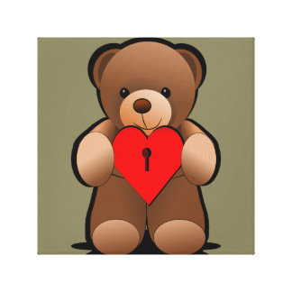 Heart Key Love u Teddy Bear Print Stretched Canvas Print