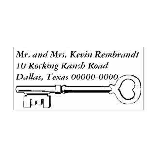 Heart Key Return Address Self-inking Stamp