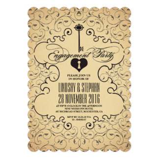 Heart Key Vintage Engagement Party Invitation