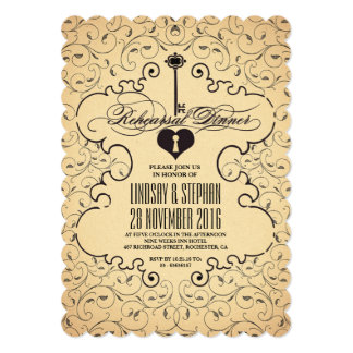 Heart Key Vintage Rehearsal Dinner Invitation