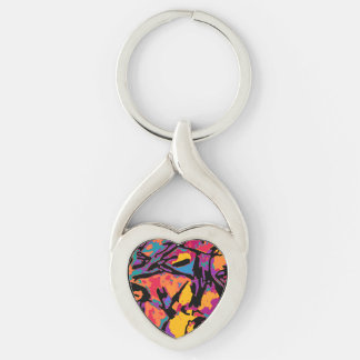 Heart Keychain with colorful art by PiCassieO