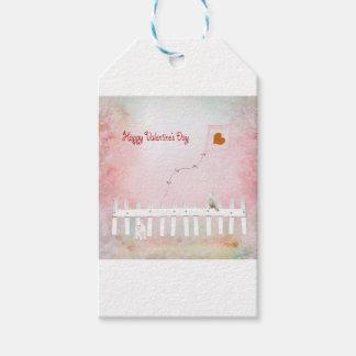 Heart Kite Flying, White Kitten, White Bird Gift Tags