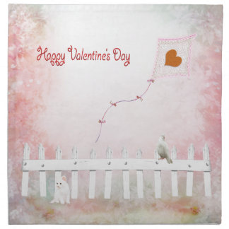 Heart Kite Flying, White Kitten, White Bird Napkin