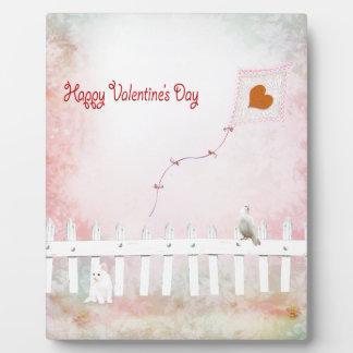 Heart Kite Flying, White Kitten, White Bird Plaque