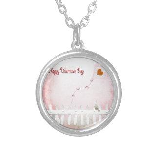 Heart Kite Flying, White Kitten, White Bird Silver Plated Necklace
