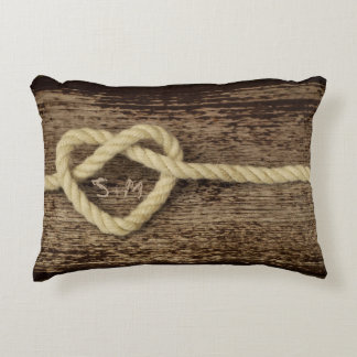 Heart Knot on Wood Monogrammed Love Pillow