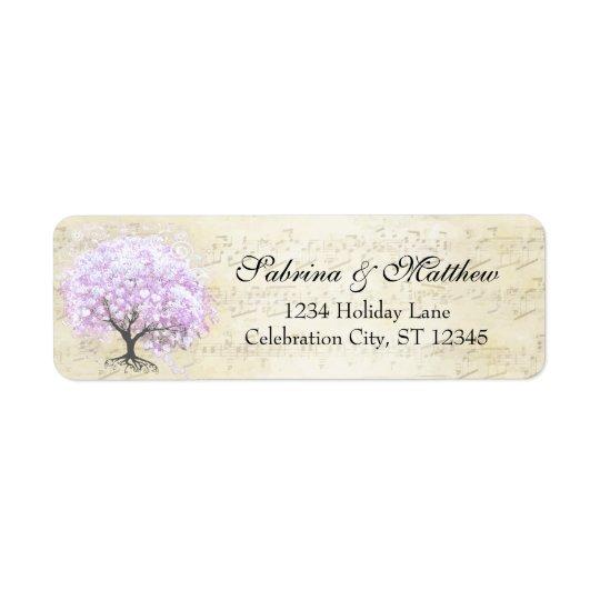 Heart Leaf Lavender Tree Vintage Bird Wedding Return Address Label