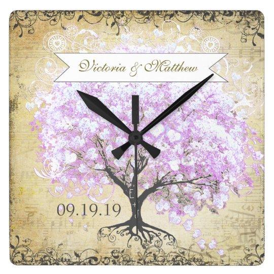 Heart Leaf Lavender Tree Vintage Bird Wedding Wallclocks