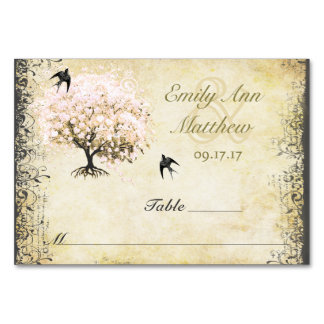 Heart Leaf Pink Tree Vintage Bird Place Card