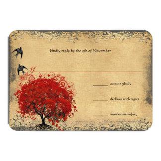 Heart Leaf Red Tree Vintage Birds Wedding RSVP Card