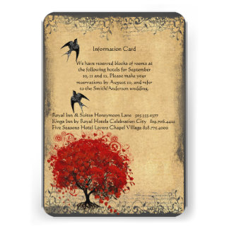 Heart Leaf Red Tree Vintage Birds Wedding RSVP Invite