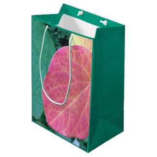 Heart Leaves of Yellow Red Green - Medium Gift Bag