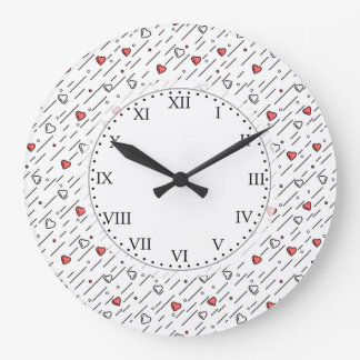 Heart lines large clock