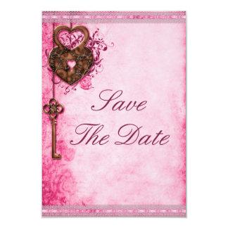 "Heart Lock & Key Pink Wedding Save The Date 3.5"" X 5"" Invitation Card"