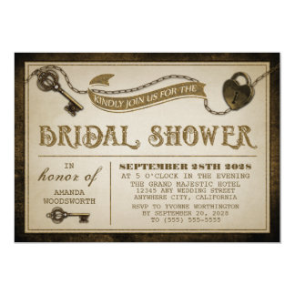 Heart Lock Skeleton Key Bridal Shower Invitations
