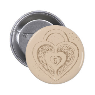 Heart Lock with polkadots Pinback Buttons