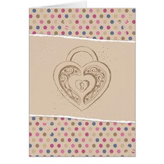 Heart Lock with polkadots Greeting Card