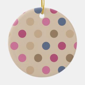 Heart Lock with polkadots Round Ceramic Ornament
