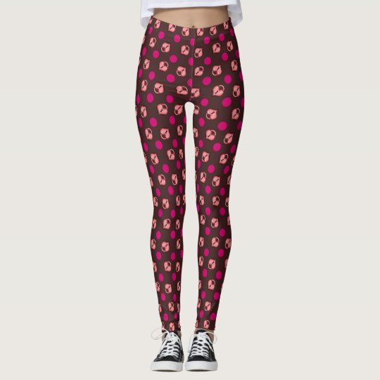 Heart Locket and Dots Chocolate Leggings
