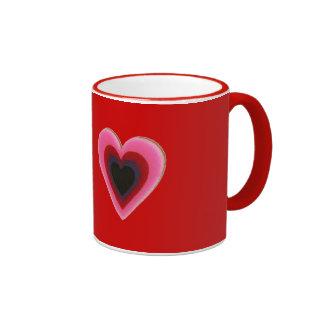Heart locks and hearts coffee mugs