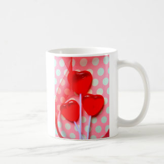 Heart lollipops on polka dots coffee mug